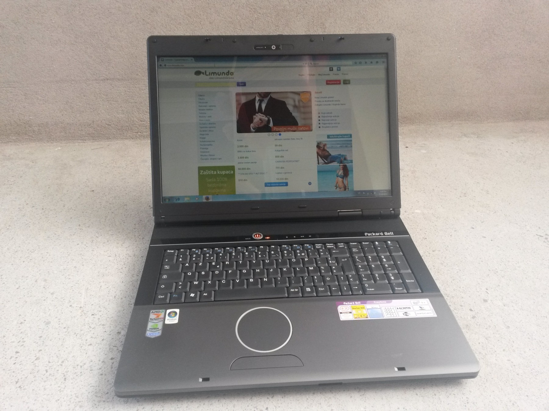 laptop packard bell dual core odlican 38190993. Black Bedroom Furniture Sets. Home Design Ideas