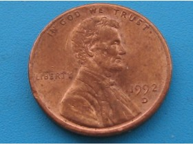 USA - 1 Cent `Lincoln Memorial Cent` 1992 D