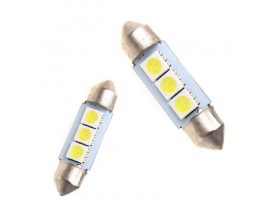 2x Festoon 36mm 3 SMD 5050 LED Bela