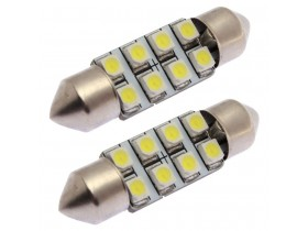 2x Festoon 36mm 8 SMD 3528 LED Bela