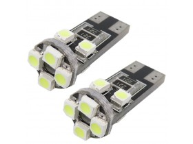 2x T10 W5W 8 SMD LED Canbus - Bele