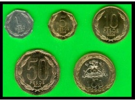 CHILE 1-5-10-50-100 Pesos 2006 UNC - set of 5 coins