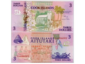 COOK IS.Kukova ostrva 3 Dollars P-7a ND (1992) UNC