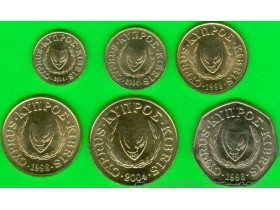 CYPRUS 1-2-5-10-20-50 Cents 1998-2004 UNC - set of 6 co