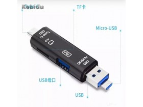 Čitač otg 5/1 kebidu USB,microUSB,TYPE C cita do 512GB