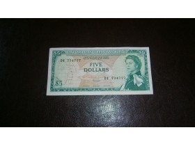 EAST CARIBBEAN STATES 5 DOLLARS 1965 VF