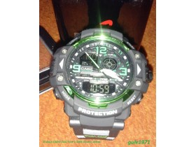 G-shock CASIO Dual Time 1/100S Chrono, Zeleni.