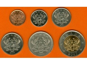 GHANA 1-5-10-20-50 Pesewas 2007-12 UNC - set of 6 coin