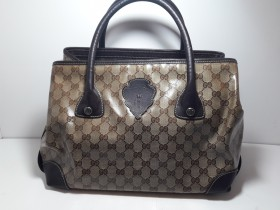 GUCCI  Hysteria GG Crystal tote bag PVC Leather Brown