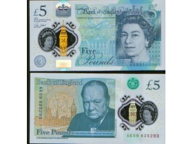 Great Britain 5 pounds 2016. P-NEW. UNC Polymer.