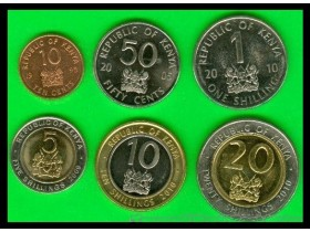 KENYA 10-50 Cents+1-5-10-20 Shillings 1995-2010 UNC -6