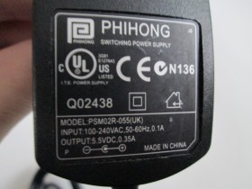 Phihong adapter 5.5V 0.35A