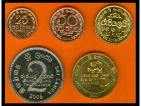 SRI LANKA 25-50 Cents + 1-2-5 Rupees 2005-2008 UNC set