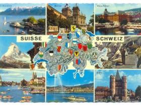 Svajcarska Razni Gradovi Karta Grbovi 1969 86149851
