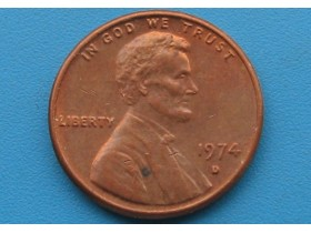 "USA - 1 Cent ""Lincoln Memorial Cent"" 1974 D"