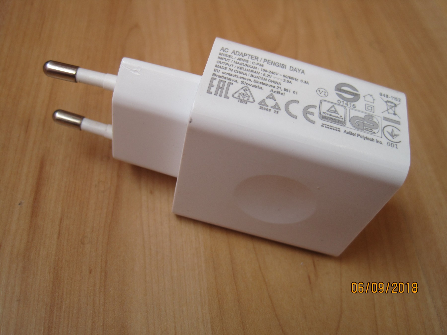 Usb Adapter Punjac Lenovo 52v 2 A Br2 69051281 Charger C P36 2a Original