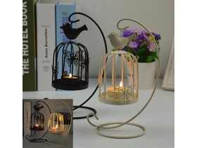 Creative Cute Hanging Design Birdcage Candle Holder Hom
