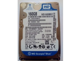 Hard disk za laptop SATA WD 160 GB