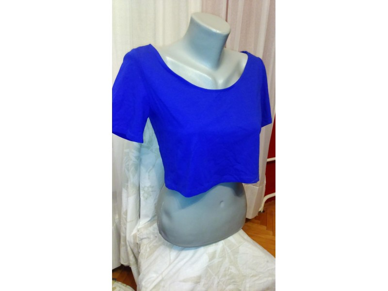 H&M DIVIDED PLAVI CROP-TOP